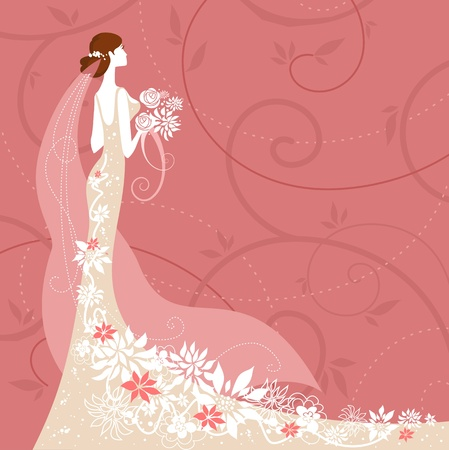pink dress: Bride on pink background
