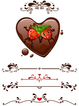 Cartoon strawberry supine in chocolate heart and decorative elements
