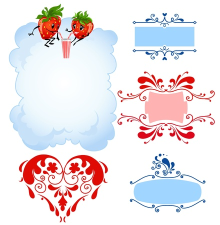 Cartoon strawberry and frames  Vector