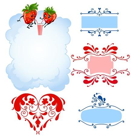 Cartoon strawberry and frames Stock Vector - 9334028