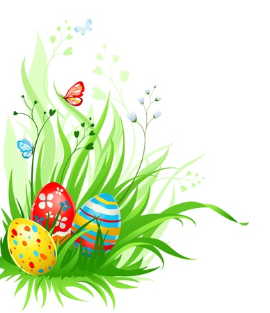 colored eggs: Easter eggs on grass