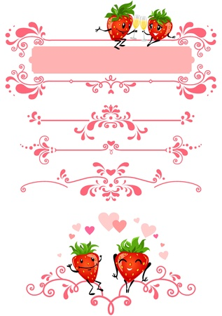 dividing lines: Cartoon strawberry and pink decorations