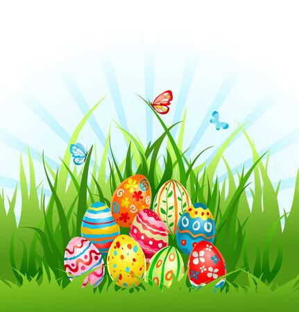 colored eggs: Eggs on grass