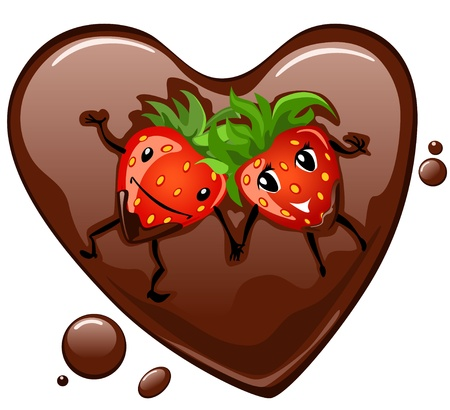 sweet love: Cartoon strawberry supine in chocolate heart Illustration
