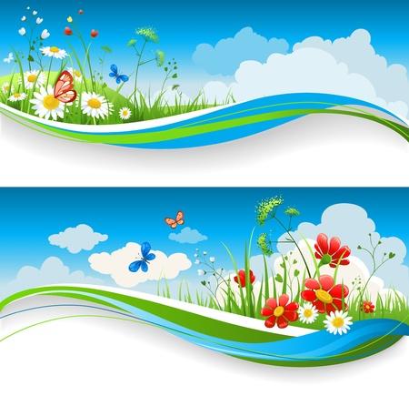 primavera: Dos pancartas naturales con cielo azul y flowes de verano Vectores