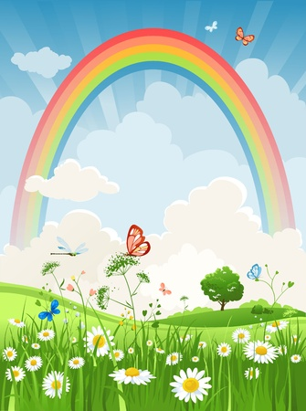 Summer sunny day with rainbow Vector
