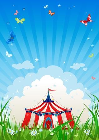 animaux cirque: Cirque itin�rant avec espace de texte   Illustration