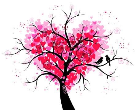 Árbol de corazón Vectores