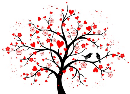 asian trees: Two-colored decorative tree with hearts