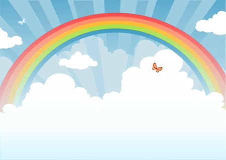 rainbow scene: Rainbow with space for text   Illustration