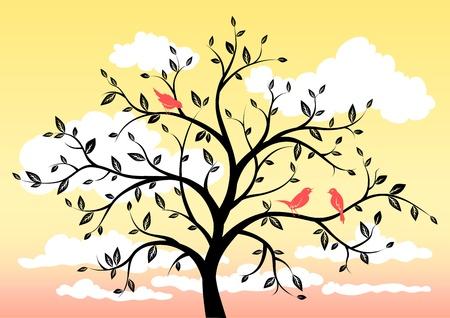 alone bird: Spring morning Illustration