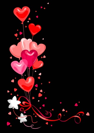 Bright heart shape balloons Vector