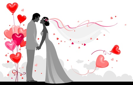 bride groom: Couple with festive balloons Illustration