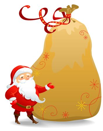 Santa Claus with huge sack Vector