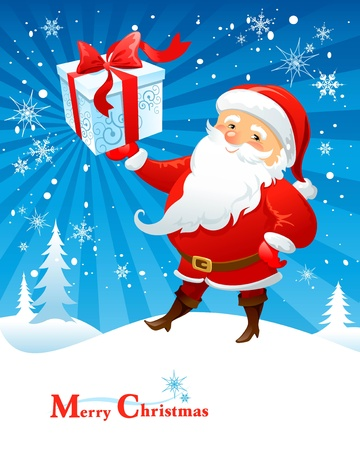 Santa Claus with gift Stock Vector - 9580912