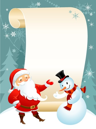 new year scroll: snowman and Santa