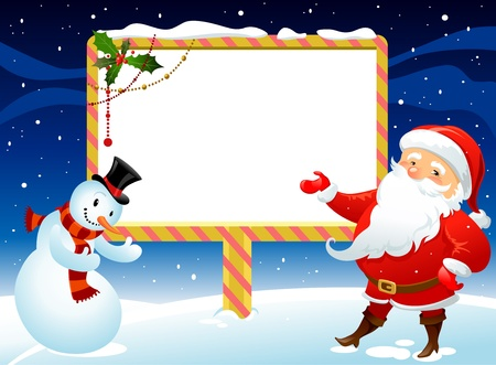 Santa Claus and snowman with billboard for you message Vector