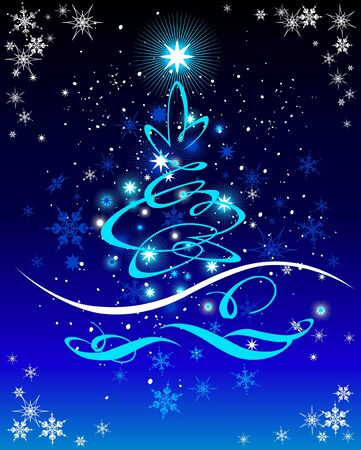 snowing: Christmas  tree on blue  background