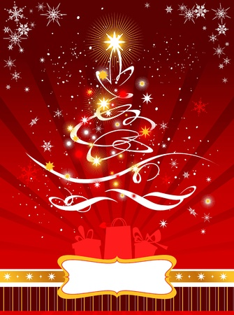 Christmas  tree on red  background Stock Vector - 9580922