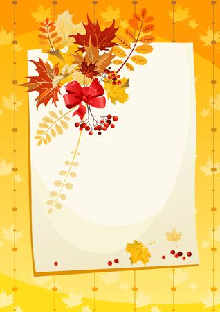 mountain ash: Autumn card with space for text Illustration