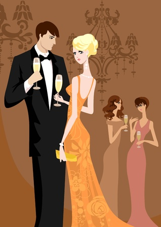 Beautiful women and men in evening wear Vector