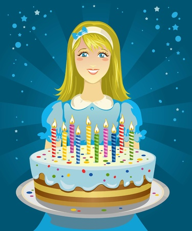 Girl holding a Birthday cake Vector