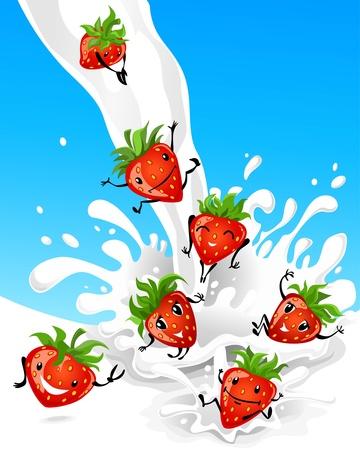 frutas divertidas: Fresa divirti�ndose en leche