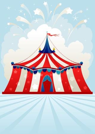 exposition art: Tente de cirque avec espace de texte