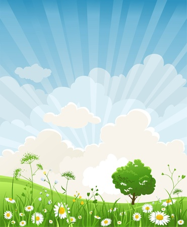 Summer scenery Stock Vector - 9813479