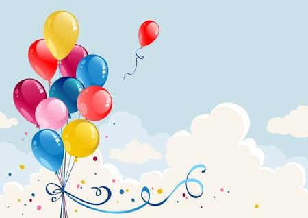 verjaardag ballonen: Birthday ballonnen achtergrond met ruimte voor tekst