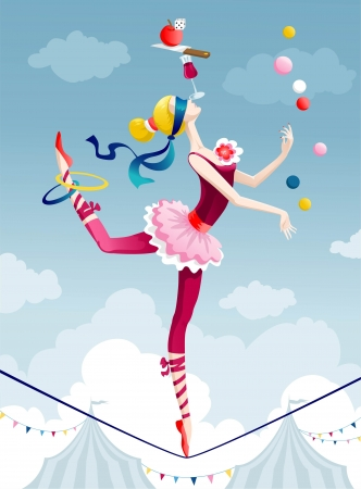 Circus performer juggling with balls on wire Vector