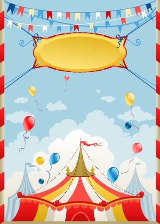 entertainment tent: Cartel de circo con espacio para texto Vectores