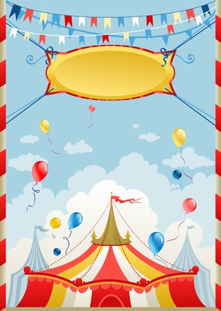 marquee tent: Circus poster with space for text Illustration