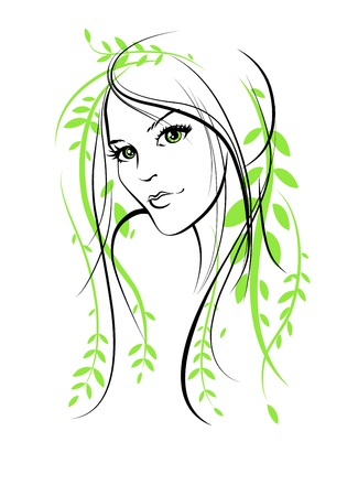 line drawing: Beauty floral woman