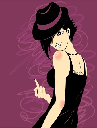 rebellious: Rebellious girl in a hat shows a middle finger Illustration