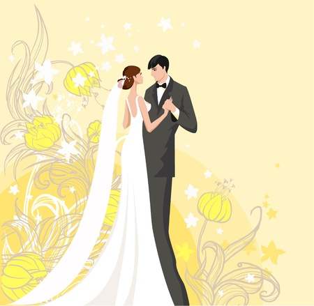 bride veil: Bride and groom. Background with space for text