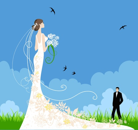 Summer wedding Vector