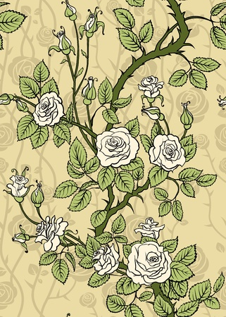 floral silhouette: Rose seamless Illustration