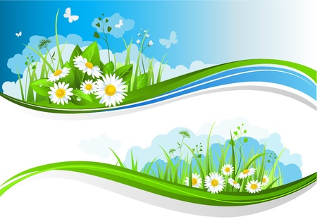 grass land: Banners de verano con bellas flores bajo un cielo azul Vectores