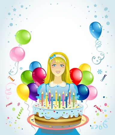 Girl with cake with space for text   Vector