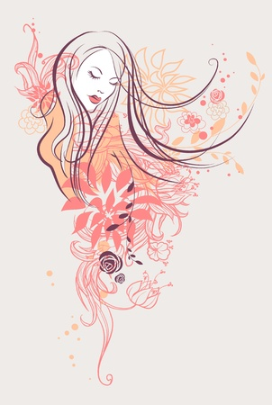 Abstract floral girl Stock Vector - 10585569