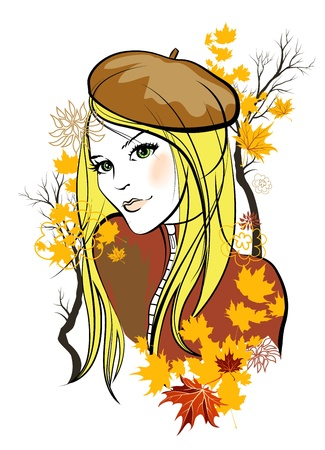 Autumn girl Stock Vector - 10585576