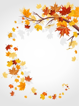 autumn leaf frame: Hojas de oto�o remolinos con espacio para texto