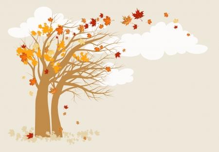 szeptember: Őszi fa háttér helyet a szöveges Illusztráció