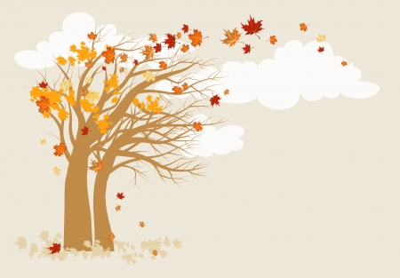 Autumn tree background with space for text   Vector
