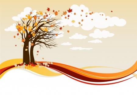Fondo de árboles otoño  Ilustración de vector