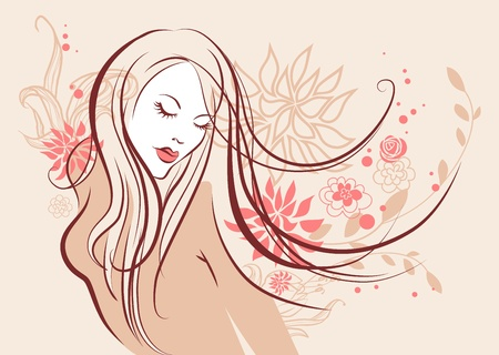 Beautiful floral girl Stock Vector - 10585571