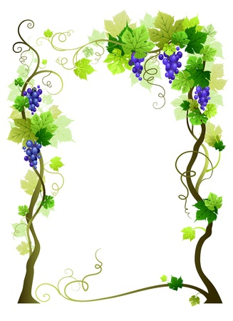 cultivating: Blue vineyard frame with space for text   Illustration
