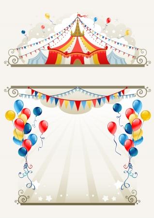 Marco de circo con espacio para texto   Ilustración de vector