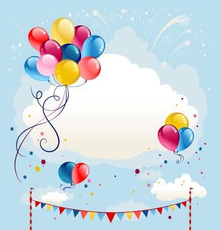 globos de cumpleaños: Fondo de globos festiva con fuegos artificiales. Espacio para el texto